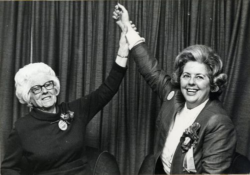 Betty Boothroyd and her mother Mary celebrating Betty's re-election in 1974 as MP for West Bromwich West.