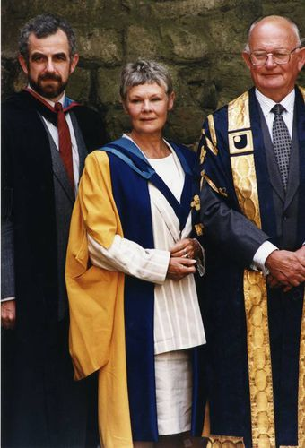 Dame Judi Dench with Peter Barnes and Kenneth Berrill on the occasion of her receipt of an honorary doctorate of the Open University.