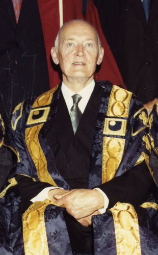 Cropped from image:000000700000. Lord Gerald Gardiner of Kittisford (1900-1990) was the second Chancellor of The Open University.