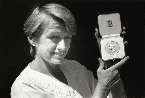 Professor Doreen Massey holding the Victoria Medal presented by the Royal Geographical Society for services to economic and social geography. The award was presented on the 13th June 1994.