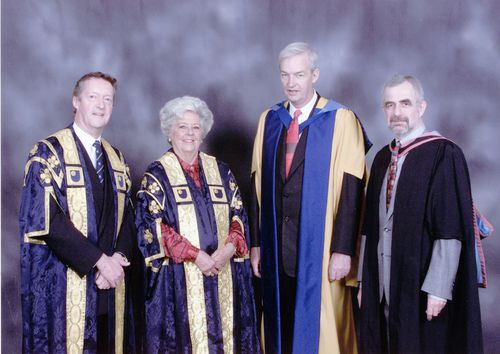 A group photograph including John Daniel (Vice-Chancellor), Betty Boothroyd (Chancellor), Peter Barnes (Honorary Graduate Presenter) and honorary graduate, broadcaster Jon Snow on the occasion of his conferment at Portsmouth on 7 April 2001.